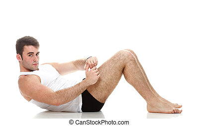 Sexy, Moda, joven, modelo, tipo, Plano de fondo, condición física, empujón, Elaboración, blanco, deporte, hombre, Aumentar, ejercicio, músculo