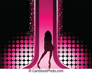 sexy, moda, ragazza, in, bello, e, colorito, catwalk.