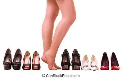 sexy, moda, zapato, piernas, mujer