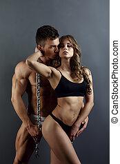 sexy, model, en, gespierd, hunk, het poseren, in, studio