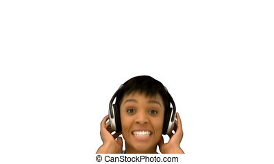Sexy model jumping listening to music