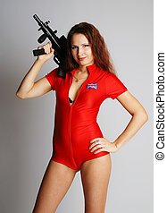 Sexy model with tommy-gun