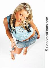 sexy, modell, ausdrücke, blond