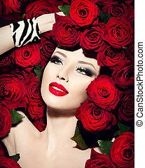 sexy, modelo, niña, con, rosas rojas, flores, peinado