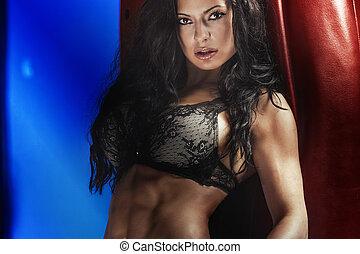 sexy, morena, dama, con, perfecto, body.