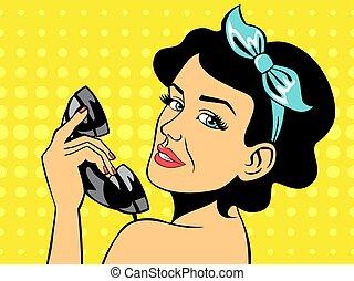 sexy, morena, mujer que habla teléfono
