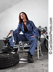 sexy, motocicleta, mecánico