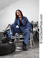 sexy, motocyclette, mécanicien