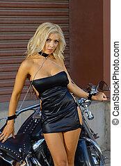 Sexy motorcycle biker girl - Sexy motorcycle biker girl...
