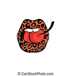 Sexy mouth with leopard print lipstick biting a cherry - cartoon doodle