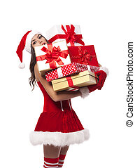 Sexy Mrs santa claus holding heavy stack of christmas gifts