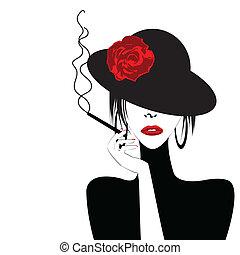 sexy, mujer, cigarro