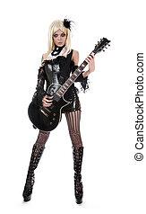 sexy, mujer, con, guitarra