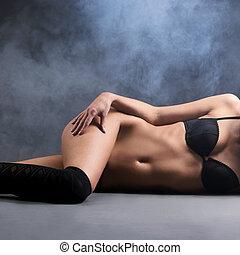 sexy, mujer, en, erótico, lenceria