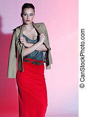 sexy, mujer, en, rojo, moda, vestido