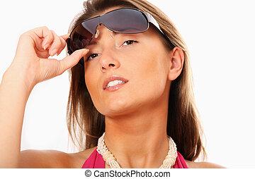 sexy, mujer, gafas de sol