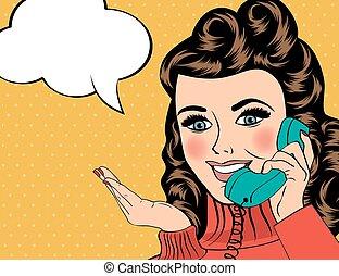sexy, mujer hermosa, charlar, en, el, retro, teléfono