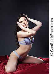sexy, mujer joven, retrato, en, rojo, en, gris, lenceria