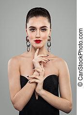 sexy, mujer, modelo, retrato