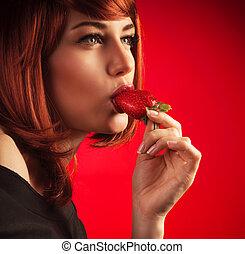 sexy, mujer que come, fresa