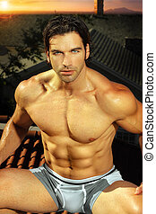 Sexy muscle man - Sexy portrait of fit muscular man in...