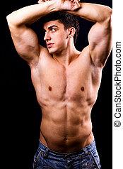 sexy, muscolare, uomo, con, adattare, corpo