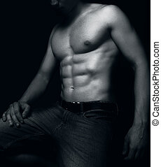 sexy, muscoli, abs, adattare, uomo