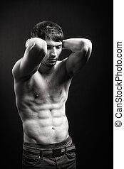 sexy, muscoli, addome, adattare, uomo