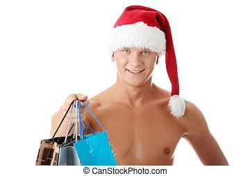 sexy, muscular, shirtless, hombre, en, sombrero de claus de santa