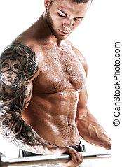 sexy, muskulös, fitness, modell, mit, tätowierte, oberkörper