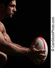 sexy naked rugby man portrait