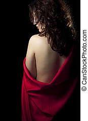 Naked Woman Wearing Red Satin
