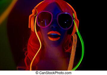 sexy, neon, uv, gloed, danser