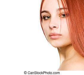 sexy, niña, con, ojos verdes, y, pelo rojo