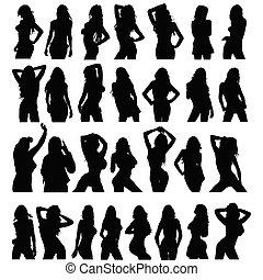 sexy, niña, negro, silueta, conjunto, vector