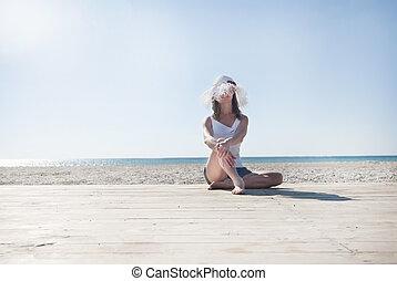sexy, niña, playa