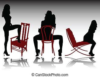 sexy, niña, silla, ilustración