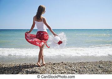 sexy, niña, sombrero de playa