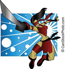 Sexy Ninja Woman - An editable vector cartoon of a beautiful...