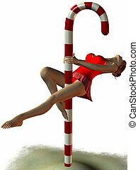 Sexy North Pole Dance - 3D Render of an sexy Pole Dancer