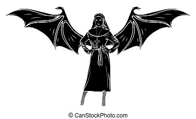 sexy Nun Silhouette with wing vector illustration - sexy Nun...