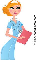 Sexy nurse with document on white