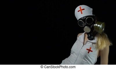 Sexy nurse with gas mask in bed - Footage of sexual young...