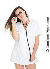 Sexy nurse with stethoscope. female doctor - isolated over a white background