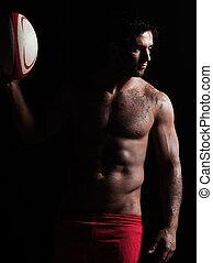 sexy, oben ohne, rugby, mann, porträt