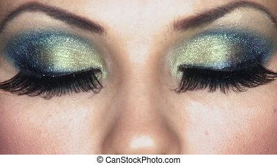 sexy, oczy, kobieta, makijaż, wystający