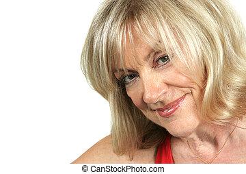 Sexy Older Woman - A closeup of a beautiful, mature blond...