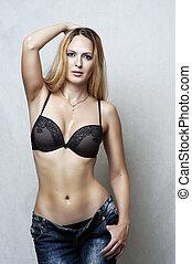 sexy ondergoed, mode, model., verticaal