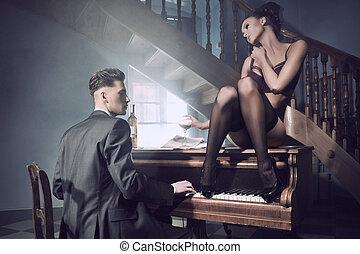 sexy, paar, in, ein, intim, situation, mit, klavier