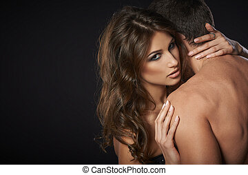 sexy, paar, jonge, omhelzen
